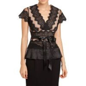 JS Collection NWT Formal Nude Illusion Lace Blouse
